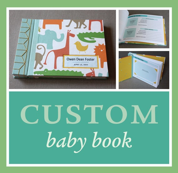 RESERVED for Amber: Custom baby book. Choose cover design, personalize with name (8.5 x 6.5)