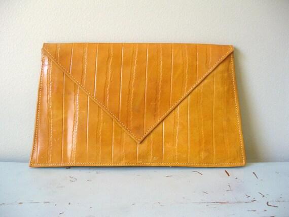 SALE...Vintage Leather Envelope Clutch