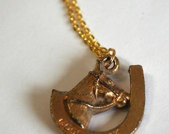 Vintage good luck charm, pendant necklace, horse shoe pendant, gold pendant, gold necklace, good luck gift, good luck necklace, gold chain