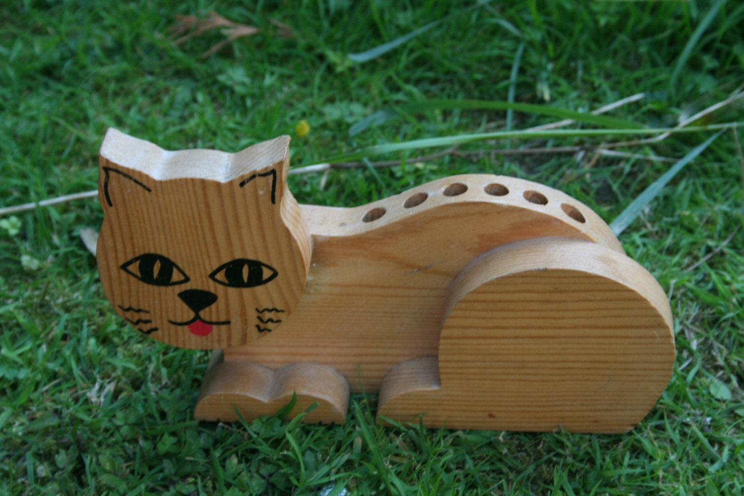 Cat Pencil Holder Made Of Wood Wooden Desk Tidy