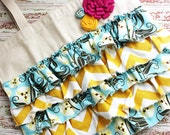 Custom Made Ruffle Tote Made with Chevron Fabric and Rosettes