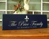 Family Name Sign with fleur de lis Carved 5R19