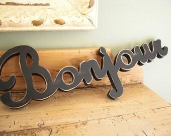 "Bonjour Wood Sign Painted 8"" X 20"""