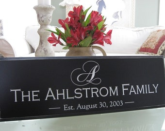 unique wedding gift, Personalized Engraved Family name sign, Custom signs last name sign Engraved Custom wedding gift,  bridal shower decor