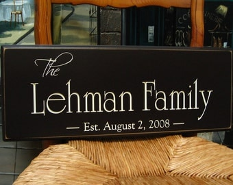 Family Name Sign.....Carved Personalized Family Name Sign Wedding Gift 5R28