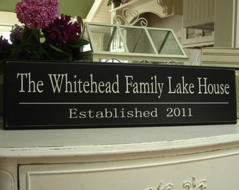 The Lake House  .....Carved Personalized Family Name Sign  8 x 30