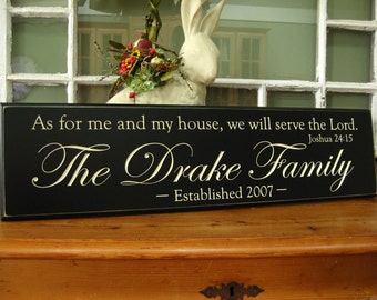 """Verse: As for me and my house, we will serve the Lord""""  .....Carved Personalized Family Name Sign  personalized family sign custom gift"""