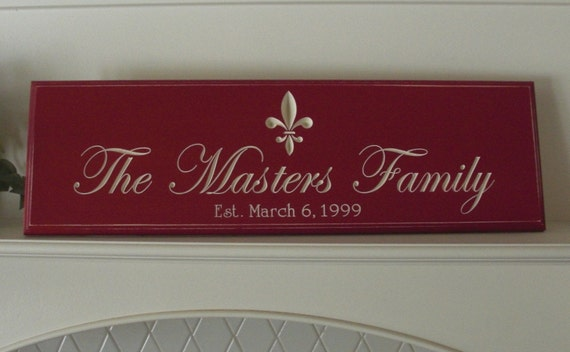 Personalized Carved Family Name Sign with fleur de lis.....Great Gift...8x24