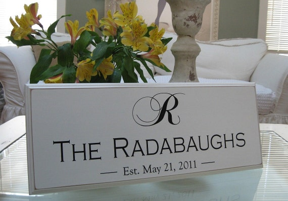 Engraved Personalized Family Name Sign... 8 x 20...Great Wedding...Anniversary Gift...