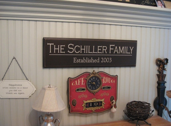 CARVED PERSONALIZED FAMILY Name Sign ...Great Wedding or Shower Gift ...6x24
