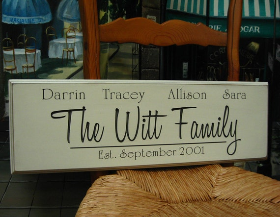 Personalized Established Family Name Wedding and Anniversary Carved Wood Sign 8 x 24