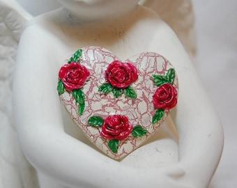 Vintage Rose Heart Tack Pin Brooch for the Ring Bearer or Flower Girl