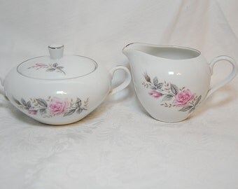 Vintage Rose Glow Sugar Bowl and Creamer Fine China Set from Castlecourt Japan