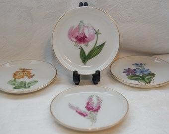 Beautiful Miniature Floral Botanical Themed Porcelain Dish Coasters, Lot of Four Pieces for Vintage Wedding Decor