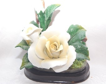 Dreamy Vintage Bisque White Roses Figurine for Wedding Decor at The Rose Rooms
