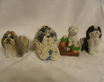 Vintage Dog Figurine Collection, Lot of Four Adorable Puppies at The Rose Rooms