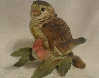 Precious Antique Robin Bird Figurine on a Cherry Blossom Branch from Japan Chippy Shabby Chic Beauty