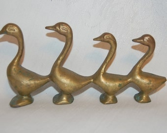 Vintage Little Brass Swan Duck Goose Waterfowl Family at The Rose Rooms