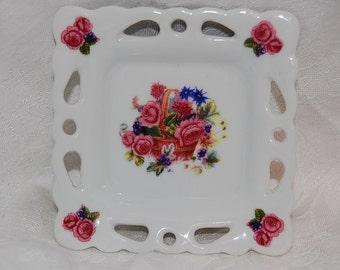 Vintage Porcelain Pink Rose Vanity Dish at The Rose Rooms