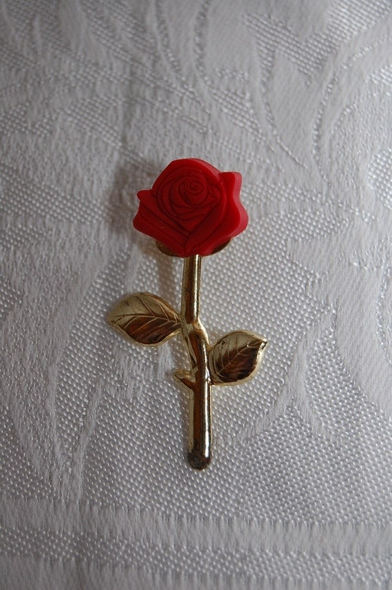Beautiful Miniature Vintage Long Stem Red Rose Lapel Pin Brooch for the Groom