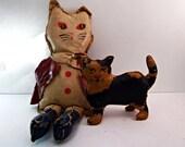 Vintage Painted Canvas Cat Toys - Folk Art - Primitive - 1920s/30s