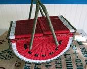 Wicker Watermelon Picnic Basket Summer Fun