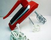 Mod GE Hand Mixer Retro Orange 1960s 70s