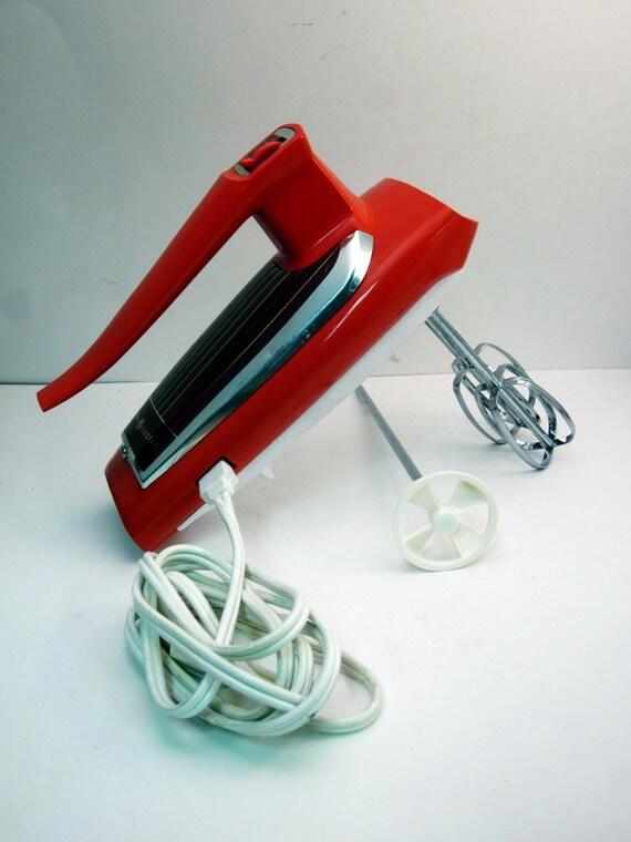 Mod ge hand mixer retro orange 1960s 70s for General electric mixer vintage