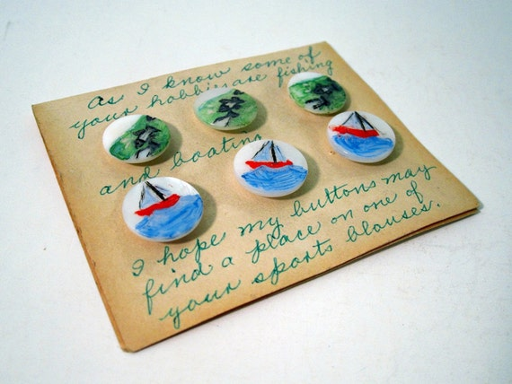 1950s Hand Painted Boating and Fishing Pearl Buttons - As Found