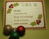 "Christmas cards handmade note cards - christmas ""to do"" list"