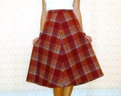SALE Vintage Wool Skirt - Red Plaid