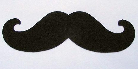 Mustache Fabric Applique-Iron or Sew On-Black