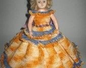 1940's Doll, hard plastic body, hand crocheted dress