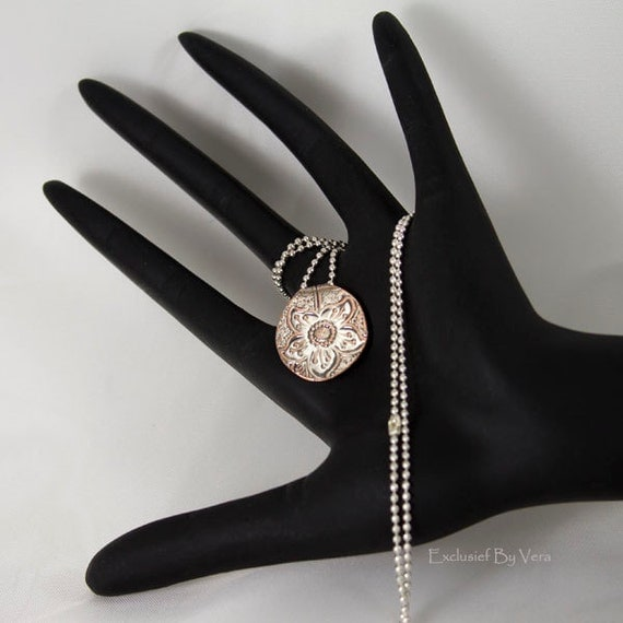 Silver flower pendant, silver ball chain necklace