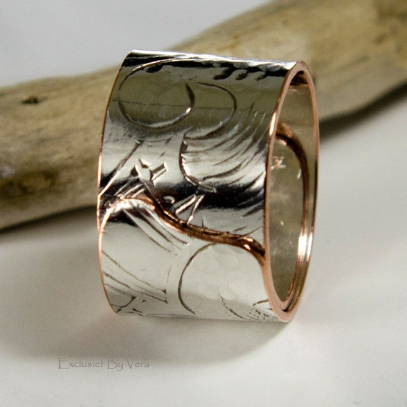 Mixed metal finger ring, perfect birthday ring for someone special