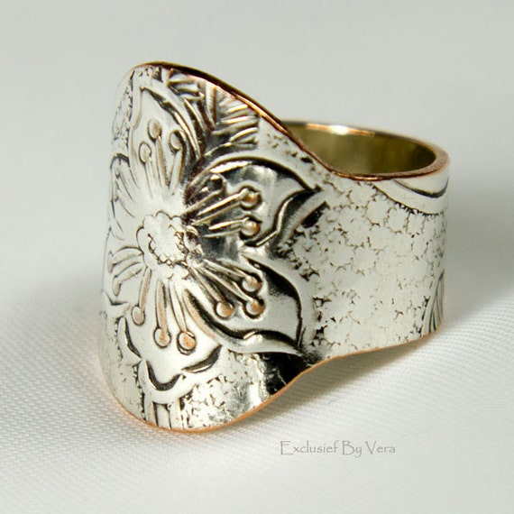 Blossom a unique floral finger ring or silver thumb cuff, great Mother's Day gift