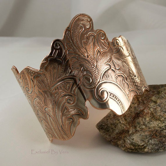Copper and silver, metal cuff bracelet, wide bracelet, pure copper on inside