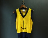 1960s Sweater / Nautical Anchor Vest - Small