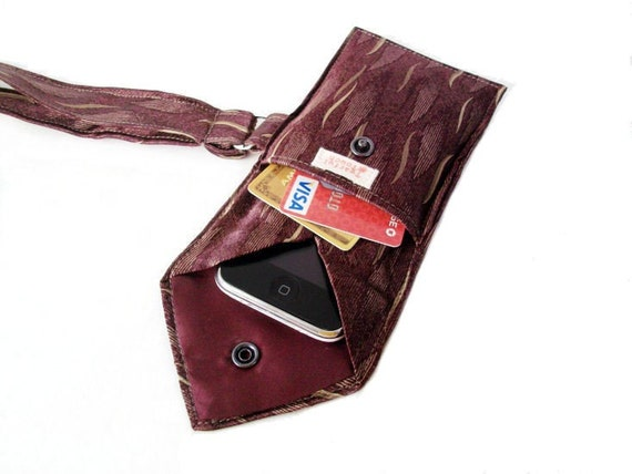 RED WINE Recycled Men's Necktie Wristlet 2-Pocket Gadget Holder (iPhone 3g/3gs/4 Blackberry Droid Palm HTC Samsung Sidekick iTouch iPod Zune MP3 or Camera Case)