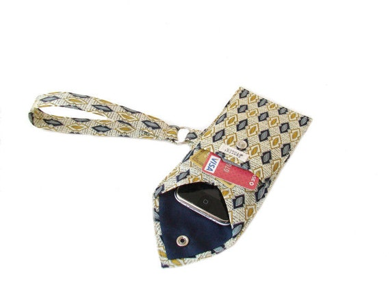 Recycled Necktie Cell Phone Wristlet Gold Navy Blue Wallet (iPhone HTC Blackberry Droid Samsung Smartphone iTouch iPod MP3 or Camera Case)