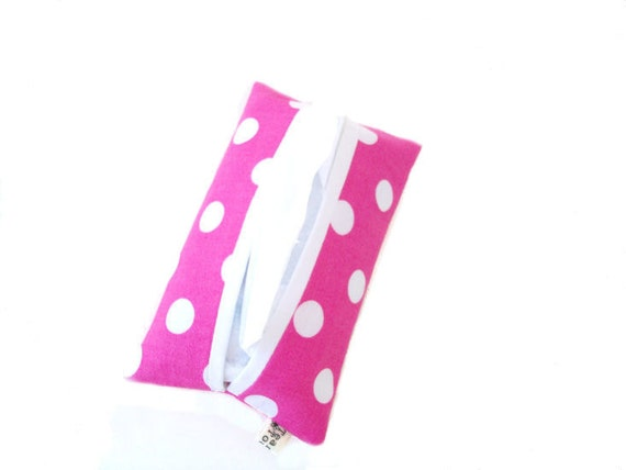 Refillable Pocket Tissue Holder - White Polka Dot on Fuchsia