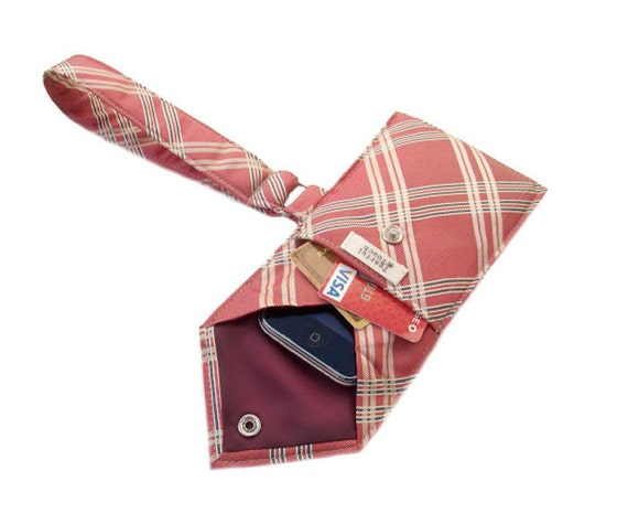 Recycled Men's Necktie Wristlet Red Plaid Cell Phone Wallet (iPhone Blackberry Droid HTC Samsung Smartphone iTouch iPod MP3 Camera Case)