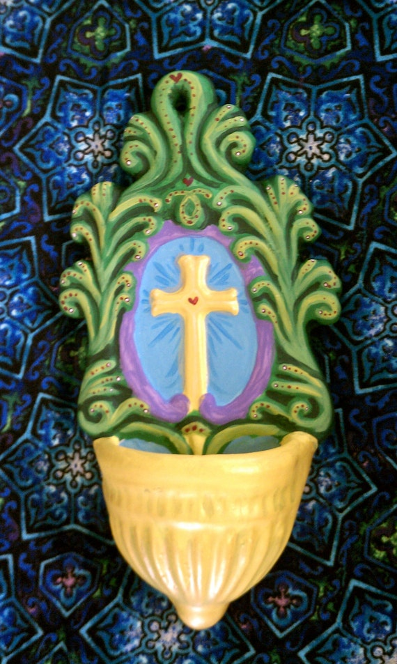 Hand Painted Ceramic Holy Water Font