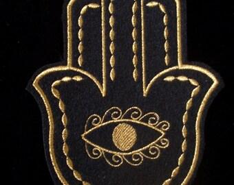 golden hamsa metallic  thread embroidered iron on patch