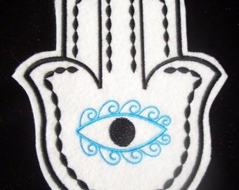 Turquoise and black embroidered hamsa iron on patch