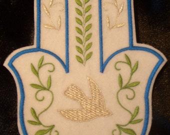 embroidered Silver dove and olive branch hamsa iron on patch