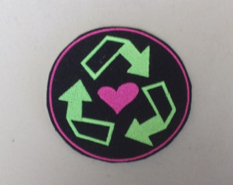 Love recycling embroidered iron on patch