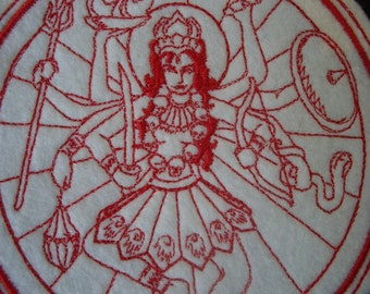 red work embroidery Kali iron on patch