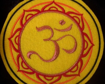 5 inch embroidered copper OM / AUM iron on patch