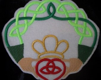 celtic knot work embroidered claddagh iron on patch